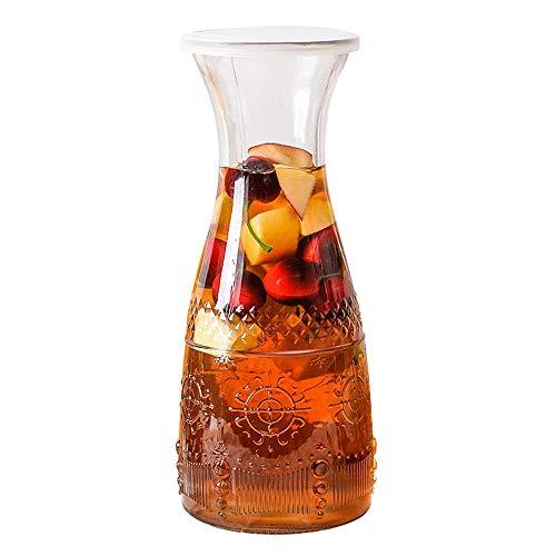 CSD Jugo Estilo nórdico 1L Copa de Cristal Taza de té con la Tapa de la Botella de Alta Capacidad Creativa del hogar frío té de limón (Color : A)