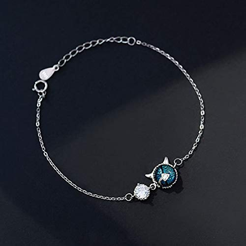 KUANGLANG Gothic S925 Sterling Silver Little Devil Bracelet For Women Adjustable Big Shine Chain Luxury Silver Brasselet Accessories