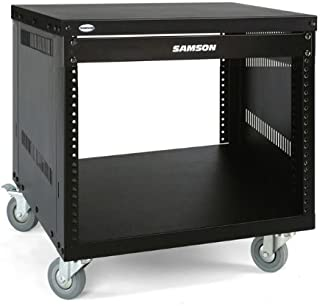 Samson SRK Universal Equipment Rack Stands 8 Space, 3-Inch Locking Casters Flanged Panel, 19-Inch, Black