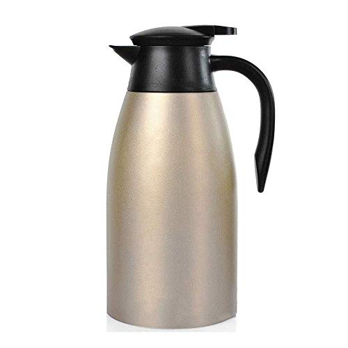 LIANGANAN Portable water cup,Thermal Coffee Carafe, 304 Stainless Steel Insulation Pot,Double Wall Vacuum Insulation Teapot Thermos Bottle Flask 2L (Color : Red) zhuang94 (Color : Gold)