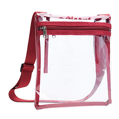 Vorspack TPU Clear Cross-Body Purse Stadium Approves Clear Bag with Inner Pocket and Adjustable Strap for Sports Event Concert Festival - Maroon