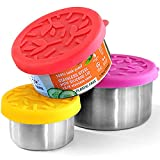 TAVVA 18/8 Stainless Steel Food Containers - Plastic Free   Leakproof Silicone Lids   Easy to Open   Reusable   Snack and Lunch Containers for Kids [Set of 3: Small-3oz/ Medium-7oz/ Large-12oz]
