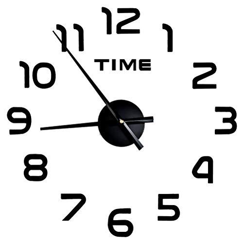 Reloj de Pared Silencioso 3D,Reloj de Etiqueta de Pared de Decoración Sin Marco, Relojes de Acrílico de Cuarzo Autoadhesivos, para Dormitorio/Sala/Pasillo/Bar, Decoración Creativa de Moda - Negro