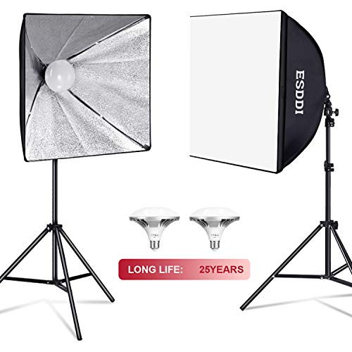 ESDDI Softbox Lighting Kit Photo Studio Light Professional Continuous Lighting with 900W 5400K E27 Socket and 2 Reflectors 50 x 50 cm and 2 LED Bulbs for Portrait Fashion and Photography Video