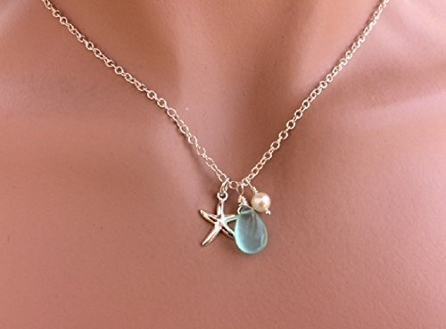 Sterling Silver Starfish Aqua Blue Chalcedony Pearl Necklace - 18 Inch Length - Gift For Women - Mothers Day