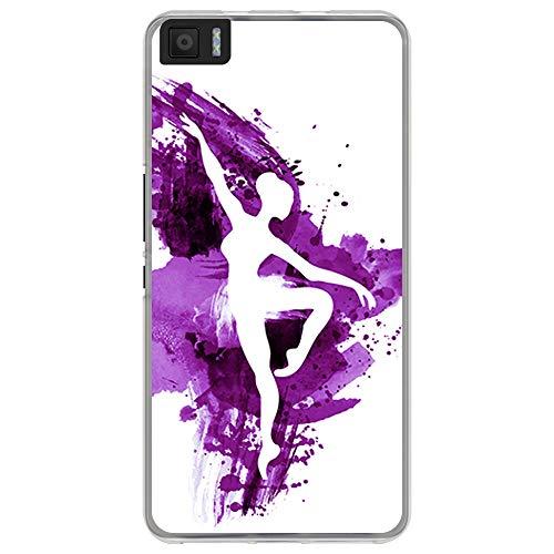 BJJ SHOP Funda Transparente para [ Bq Aquaris M5.5 ], Carcasa de Silicona Flexible TPU, diseño: Bailarina de Ballet Fondo Watercolor Morado