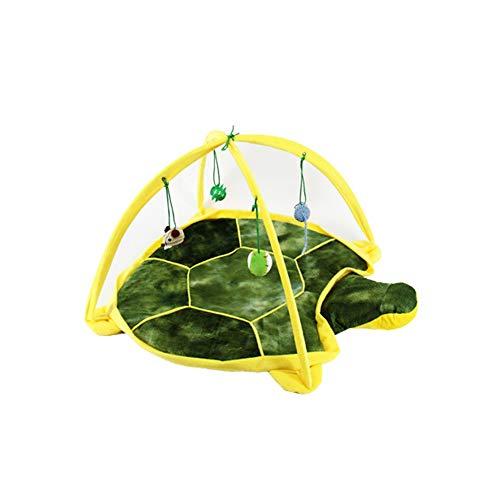Kreative Cat Teaser Zelt Multi Usage Katze Interactive Toy Hundespielzelt-Bett Soft-Interactive Hanging-Zelt-matten Green Turtle Art 1pc