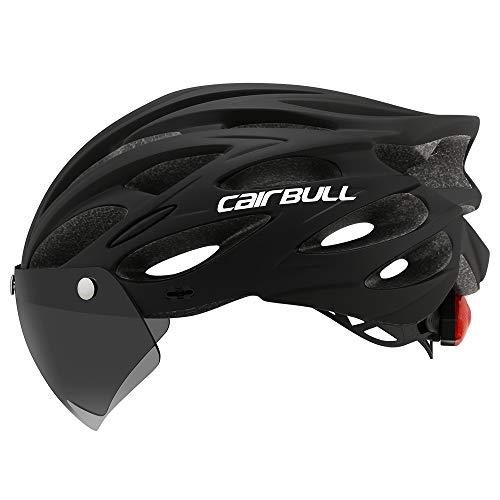 Cairbull Fahrradhelm für Herren und Damen, mit Visierlampe für Dunkelheit M/L 2 Größen CB-26 M Schwarz