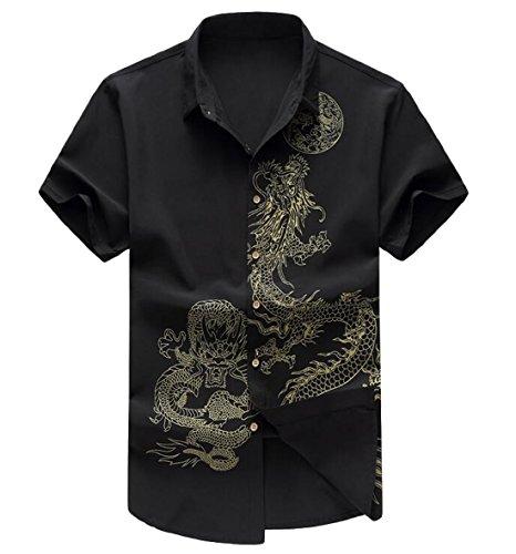 ZSN Men's Stylish Dragon Print Short Sleeve Slim Button Up Shirt Black US 2X-L