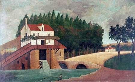 WANDAFBEELDING-op-CANVAS-De-molen-Rousseau-Henri-museo-Print-op-canvas-op-houten-frame-voor-wanddecoratie-Afbeelding-gedruckt-op-ingelijst-canvas-100%-kato-Afmeting-55_X_94_cm
