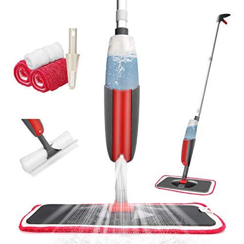 Tencoz Spray Mop, Fregona con Vaporizador, Mopa Fregona con 2 La Almohadilla de Microfibra y Rasqueta de Ducha y 2 Bayetas, Mopa Spray Rotación de 360° para la Limpieza del Hogar