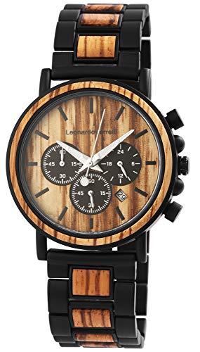 Leonardo Verrelli Herren – Uhr Holz Chronograph Analog Quarz 2800059