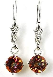 TWILIGHT FIRE TOPAZ Sterling Silver lever back earrings •SE017