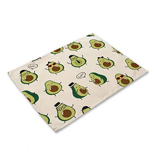 Portavasos 1 unids tropical aguacate algodón almohadilla de lino patrón de cocina placamat coaster tazón taza estera mesa de comedor tapete de mesa 42 * 32 cm decoración para el hogar