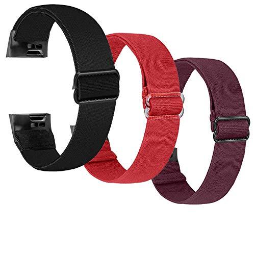 Zoholl - Correa de reloj elástica de nailon compatible con Fitbit Charge 4 / Charge 3 / Charge 3 SE, pulsera de repuesto elástica ajustable, accesorio, correa deportiva para mujeres y hombres