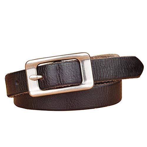 NeoMcc Cinturón de Ms Cinturón de Cuero para Mujer Cinturón de Mujer Plateado de Plata Prong TRONGANO Cinturón de Hebilla de Metal (Color : Black, Size : 110)