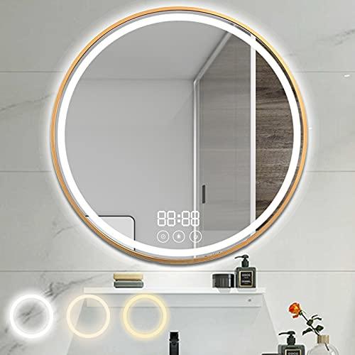 longziming Runde badspiegel mit Beleuchtung 80cm lichtspiegel Dimmbar Touch LED Wandspiegel Badezimmerspiegel mit Uhr- Warmweiß, Natur- und Tageslicht, IP44 Energiesparend