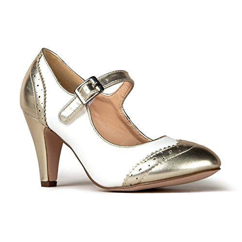 J. Adams Kym Heels for Women - Gold & White Retro Mary Jane Oxford Pumps - 11