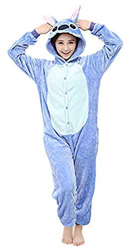 Sweet Hiver Pyjama Combinaison Enfant/Adulte Ensemble Velours Animal Cartoon (Stitch Bleu, S)
