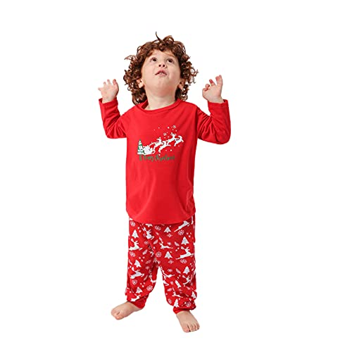 Hengyouhui Nachtwäsche Herren Damen Junge Mädchen Weihnachtselch Schlafanzug Hausanzug Bedrucktes Rundhals Langarm Oberteil Hose