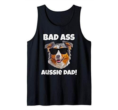 Pastor Australiano Papá Divertido Azul Rojo Merle Aussie Camiseta sin Mangas