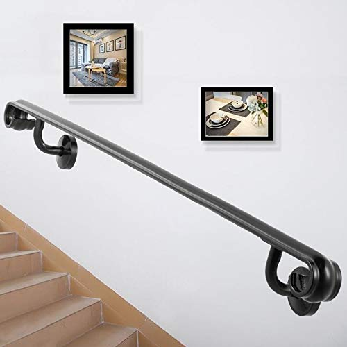 Happybuy Stair Handrail Four Step Stair Rail 4ft Length Modern Handrails for Stairs Black Wrought Iron Indoor Handrail for Stairs 200lbs Capacity Wall Mounted Stairway Railing with Brackets
