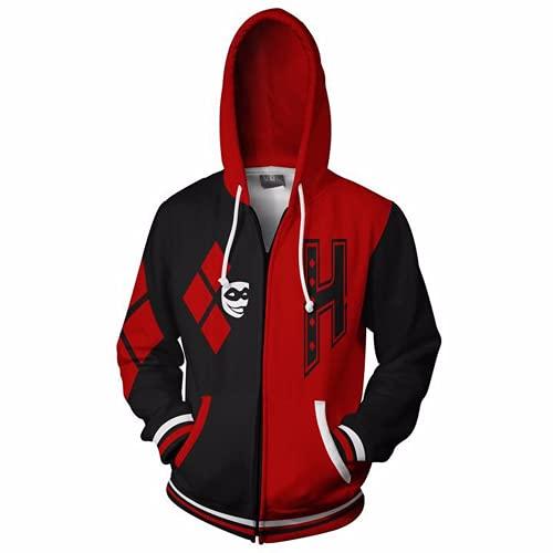 Sudadera con capucha unisex de anime Harley Quinn con capucha impresa en 3D sudaderas con cremallera chaqueta Cosplay traje