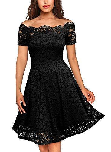 MIUSOL Damen Vintage 1950er Off Schulter Cocktailkleid Kurzarm Retro Spitzen Schwingen Pinup Rockabilly Kleid Schwarz XXL