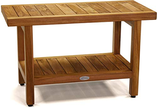 AquaTeak The Original 30' Spa Teak Shower Bench with Shelf