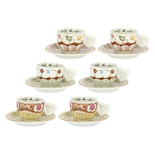 THUN ® - Set 6 Tazzine caffè Linea New Sweet Cake - Porcellana - 100 ml - Ø 6 cm