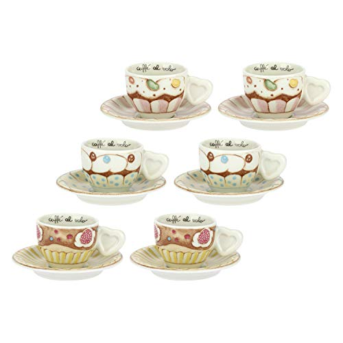 THUN - Set 6 Tazzine Espresso Con Piattini - Accessori Cucina - Linea New Sweetcake - Porcellana - Mug 100 Ml, Piattino Ø 11,5 Cm