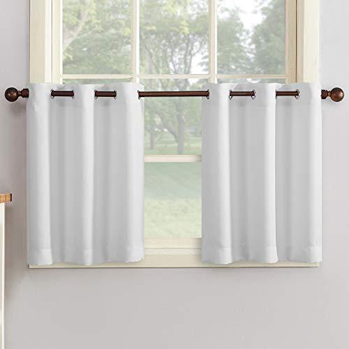 """No. 918 Montego Grommet Textured Kitchen Curtain Tier Pair, 56"""" x 24"""", White"""