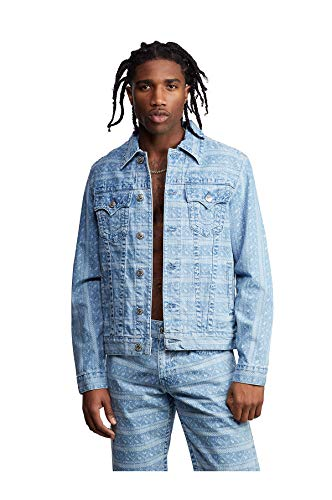 True Religion Men's Ikat Print Denim Trucker Jacket (2XL)
