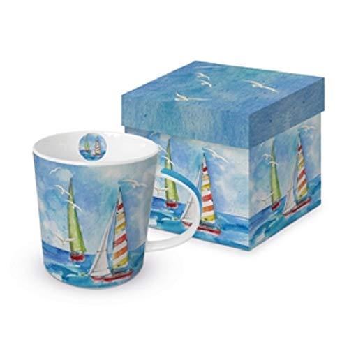 Paperproduct Design Kaffeebecher Segelboote mit Geschenkbox, Tasse Segelschiffe Geschenkset