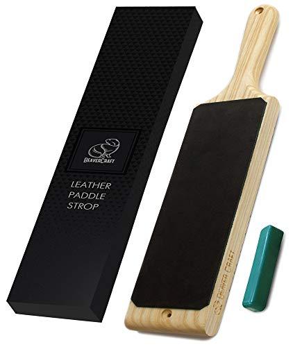 BeaverCraft LS1P1 Paddel Streichriemen für schärfen Holzschnitzwerkzeuge Abziehleder mit grüne Polierpaste Lederabziehriemen zum schärfen Messer und Werkzeuge
