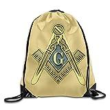 Yuanmeiju Unisex Masonic Symbol Print Mochila con cordón Rucksack Shoulder Bags Bolsa de Gimnasio Sport Bag