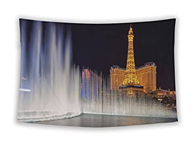 Gear New Wall Tapestry For Bedroom Hanging Art Decor College Dorm Bohemian, Las Vegas March 26 View Dancing Bellagio Fountains In Front Of The Paris Hotel