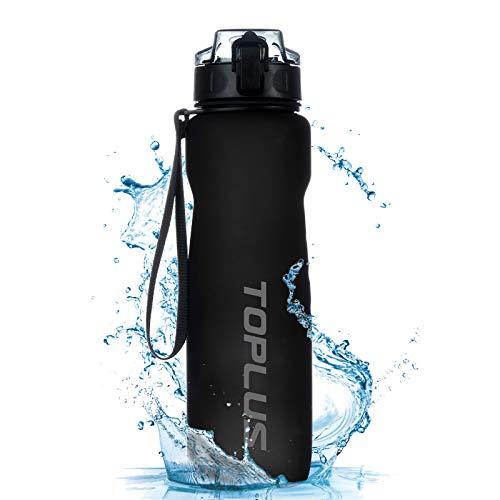 TOPLUS Sport Trinkflasche 1L Auslaufsicher Tragbare Sportflasche aus Kunststoff Wasserflasche Fahrradflasche für Kinder,Fahrrad, Schule,Camping Freien,Outdoor,Gym [BPA Frei Tritan] (Schwarz, 1000ML)