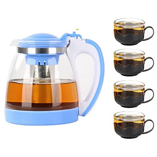 PIANAI Tetera de Vidrio Tetera de Kung Fu Tetera Grande doméstica Tetera de Flores con Filtro Resistente al Calor Juego de té Negro Juego de Utensilios para Beber: teapot1 / teacup4,Azul
