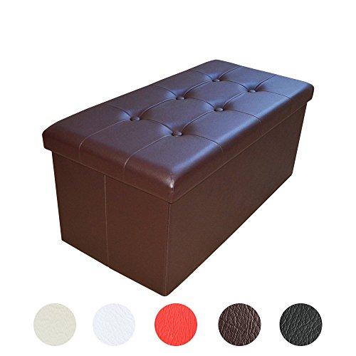 Style home Sitzbank Sitzhocker Aufbewahrungsbox mit Stauraum faltbar belastbar bis 300 kg Kunstleder 76 x 38 x 38 cm (Braun)