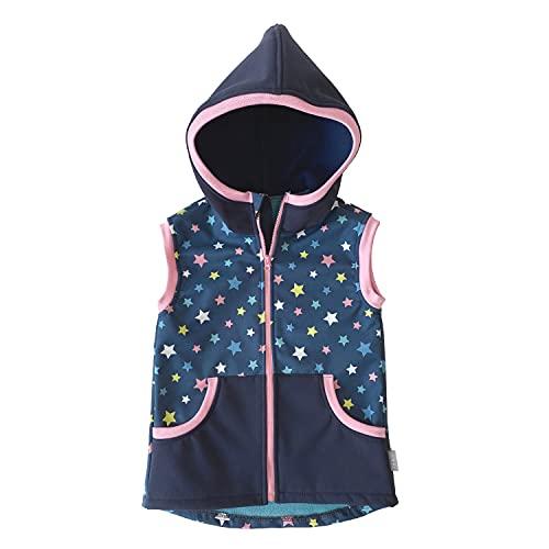Lilakind Chaleco para bebé (tejido softshell), diseño de estrellas, color azul y rosa, talla 86/92-134/140, fabricado en Alemania azul rosa 134 cm-140 cm