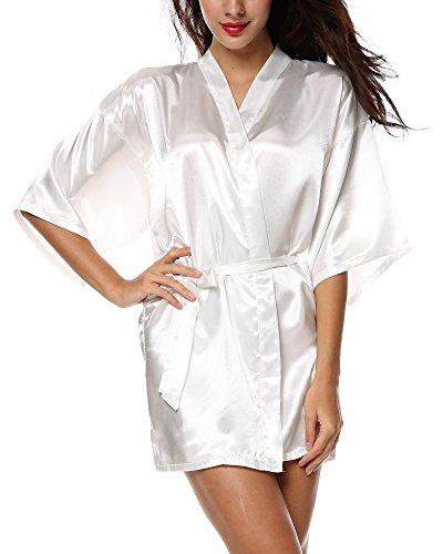 Yoliki Morgenmantel Kimono Robe Satin Damen Pyjama Kurzarm Bademantel Seide Schlafanzug Weiß