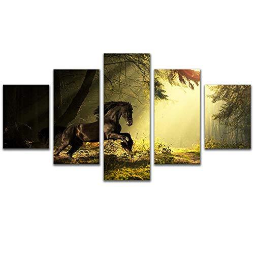 WSNDG Wulian oranje hemel onder het paard huisdecoratie schilderij zonder fotolijst 20x30cmx2 20x40cmx2 20x50cmx1 F1