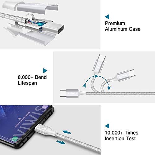 AVIWIS USB C Kabel, 2M USB C Ladekabel Fast Charge Sync Schnellladekabel 3A USB Typ C Kabel Kompatibel für Samsung Galaxy S20 S10 S9 A51 A20e, Huawei P30 Lite, Xiaomi Note 8 Pro, OnePlus - Silber