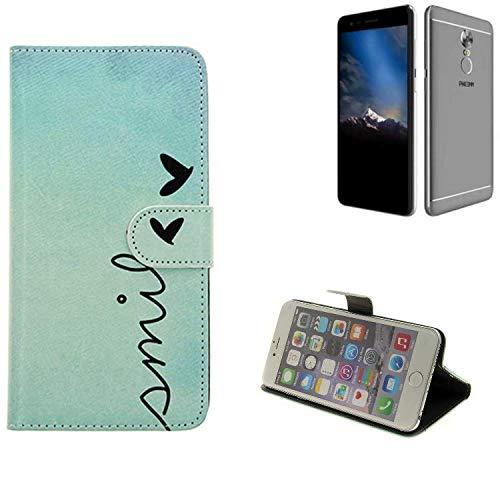 K-S-Trade® Schutzhülle Für Phicomm Energy 4s Hülle Wallet Case Flip Cover Tasche Bookstyle Etui Handyhülle ''Smile'' Türkis Standfunktion Kameraschutz (1Stk)