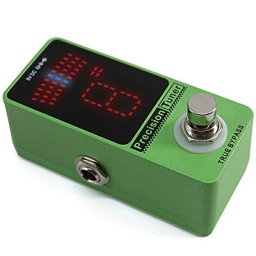 Guitarra Pedal de Efectos Pantalla LED Pedal Tuner for Guitarra True Bypass Guitar Tuner Pedal ± 1 Cent con Adaptador Verde Guitarra Accesorios Efecto (Color : Verde, tamaño : Free Size)