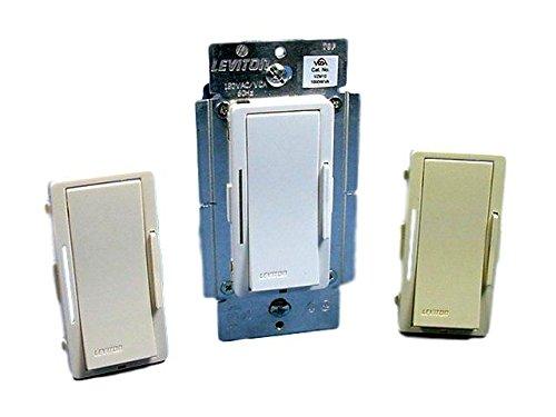 Leviton Vizia 1000-Watt 120-Volt AC Incandescent and 1000VA (800-Watt) 120-Volt AC Magnetic Low Voltage Dimmer, with LEDs, White, Ivory and Light Almond, VZM10-1LZ