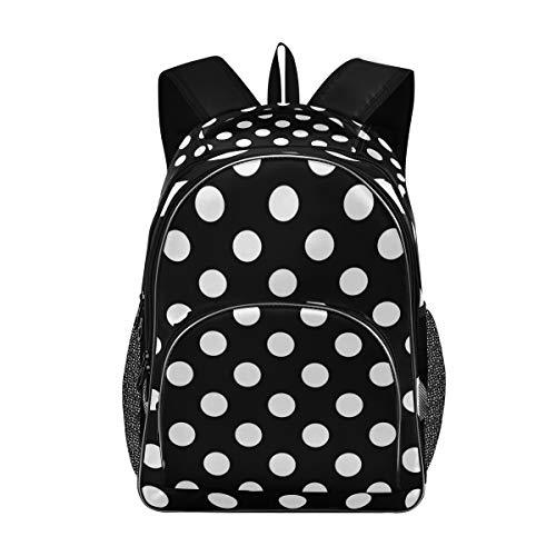 OREZI Schultasche für Mädchen und Jungen, groß, schwarz-weiß gepunktet, Rucksack für Studenten, Jugendliche und Kinder