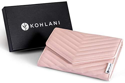 Kohlani - Cartera organizadora de joyas de viaje para accesorios, funda de piel sintética, color rosa suave, para pendientes, collares, anillos, pulseras y relojes.