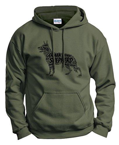 Funny Dog German Shepherd Word Art Dog Puppy Owner Gift Hoodie Sweatshirt XL MlGrn Military Green